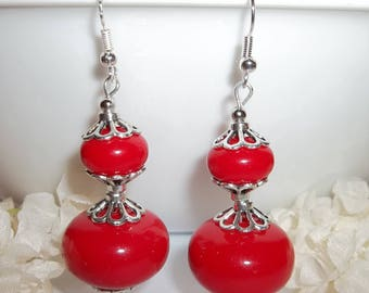 Bright Red Statement Earrings Jewelry Beaded Beads Dangle Handmade Fashion For Gift Idea Pair Style Drop Set Colorful Funky Girl wvluckygirl