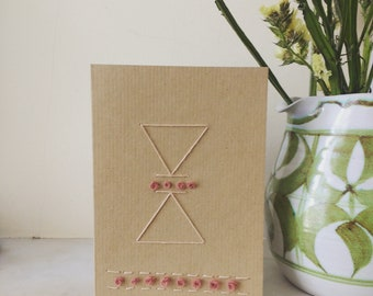 Handmade Card, Sewn Card, Embroidered Card, Blank Card, Mother's Day