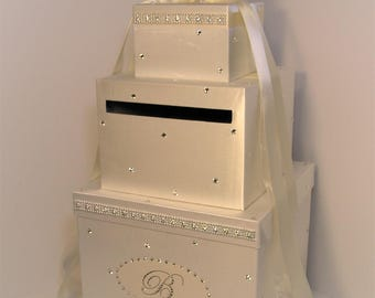 Wedding  Card Box LARGE Size 3 tier ivory Gift Card Box Money Box Holder--Customize your color