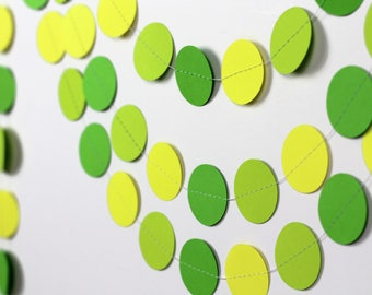 Citrus Wedding Decor - Green and Yellow Garland - Green Ombre Paper Garland - Lime Green and Yellow Circle Garland