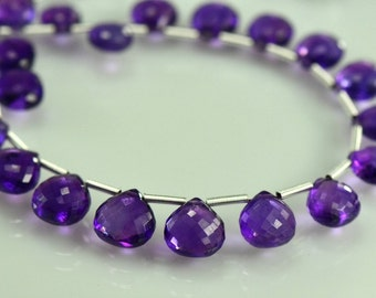 Amethyst Briolettes Micro Faceted AAA Amethyst Heart Briolette Beads 7.5-10mm