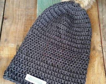 Crochet Pom Pom Slouchy Beanie