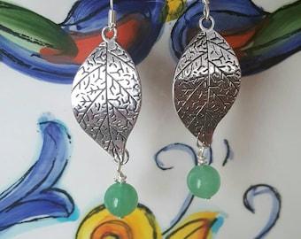 Silver leaf and aventurine dangles