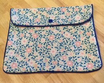 Blue floral clutch