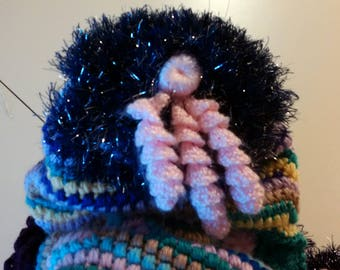Freeform Crocheted Hood/Hat with Scarf