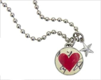 kids necklace, kids jewelry, red heart, heart charm, #29, kids accessories, pendant, Interchangeable photo jewelry