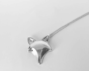 Fox necklace, animal necklace, fox head necklace, fox pendant, silver necklace, black diamonds