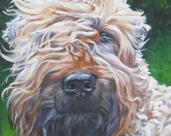 "WHEATEN Terrier dog art PORTRAIT canvas PRINT of LAShepard painting 12x16"""
