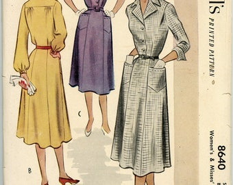 Vintage McCall's Pattern 8640 - 1951 - Women's and Misses' Dress Size 20 Bust 38