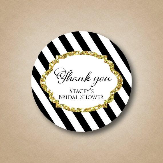 Gold glitter bridal shower stickers custom shower favor labels