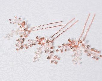 Rhinestone Hair Pins, Bridal Hair Pins, Pearl Hair piece, Wedding headpiece, Bridal Hair Jewelry, Bridal Fascinator, Rose Gold hair Pins