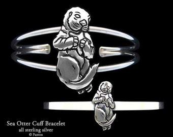 Sea Otter Bracelet Sterling Silver Sea Otter Cuff Bracelet Handmade