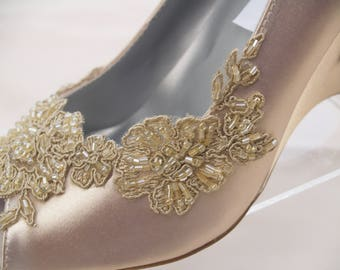 Wedge Shoes Champagne beaded Applique Shoes, Peep Toe Satin Heels, Wedding Shoes, Bridal Heels, Prom shoes, Mother of the Bride