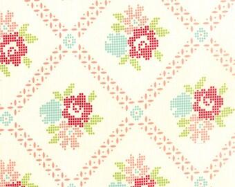 SALE!! 1/2 Yard - Vintage Picnic-Bonnie and Camille - Cream-Coral - Moda - Fabric Yardage - 55120-17