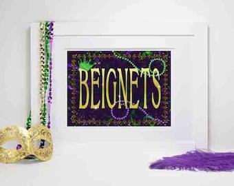 Mardi Gras Party Decoration, Mardi Gras Beignets, Mardi Gras Beignets Sign, Mardi Gras party Decor, Party Decorations, Beignets
