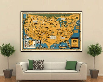 Native American map, 1944, tribes across U.S.A.,Indians, canoes, housing, handicrafts and arts, historical facts, Western American history.