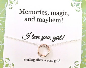 Friendship Necklace Rose Gold Sterling Silver Gift for Best Friends Sorority Sisters Cousins or Sisters CONNECTED RINGS Gifts Under 50