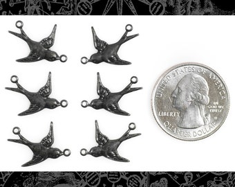 Blackened Brass Flying  Birds Sparrows Two Way Connectors, Set of Six Three Sets of Two  *BB-2C34