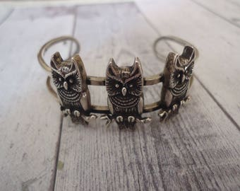 Vintage Owl Sterling Silver Cuff Bracelet, Size Small to Medium