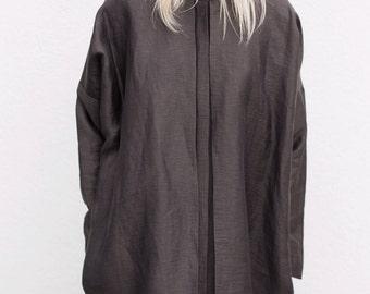Oversized linen dress. Linen and viscose dress. Minimalist shirtdress. Oversized tunic dress. Tunic dress. Linen shirtdress.
