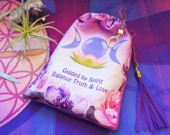 Diviners Bag - Goddess Tarot card bag Crystals and Sacred tools  pouch Oracle card holder