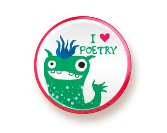 I heart Poetry - round magnet