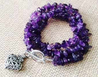 2 in 1 Amethyst bracelet that can be worn as necklace.