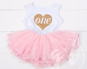 First Birthday, First Birthday Outfit, Pink and gold first birthday, Gold Heart first Birthday dress, Tutu dress, Girls first birthday