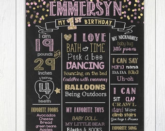 Pink and Gold Confetti First Birthday Chalkboard, ANY AGE, Pink and Gold 1st Birthday Poster,1st Birthday Chalkboard Sign,Printable File