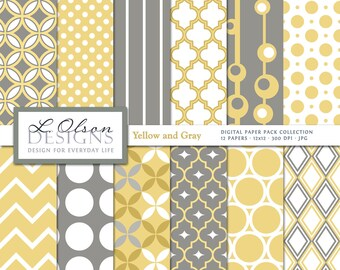 Yellow and Gray Paper Pack - 12 digital paper patterns - INSTANT DOWNLOAD