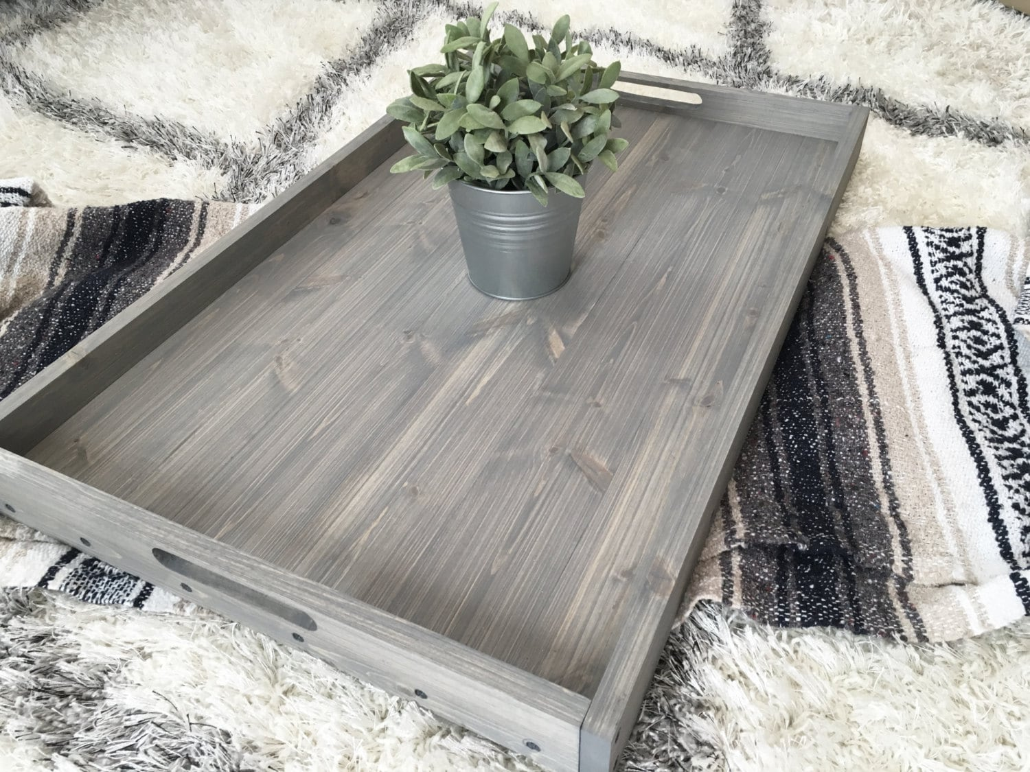 Rustic Wooden Ottoman Tray Coffee Table Tray Serving Tray