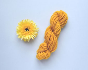 Hand dyed yellow yarn, chunky yellow yarn, yellow wool yarn, naturally dyed yarn, turmeric dyed yarn, naturally dyed wool, weaving yarn