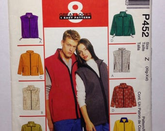 1990s 8 easy vest and jacket patterns - McCall's P452