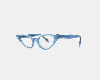 Vintage 60s Unworn Glasses FRAMES / 1960s Bright Sky Blue Cat-Eye CATEYE Eyeglasses