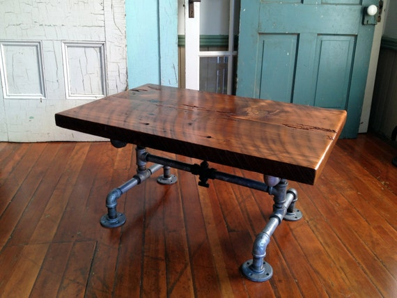 Coffee Table, Reclaimed Barn Wood Table, Galvanized Pipe,steam Punk And Old  Brass Valve