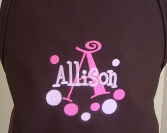 Personalized kids child Girl Pretend Play Brown Apron  Polka dots design GREAT  GIFT