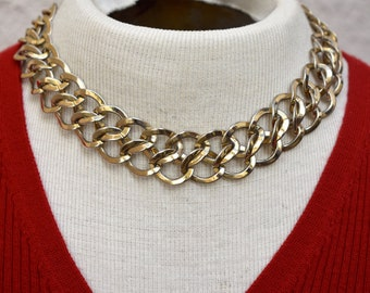 Chunky Double Interlocking Link Necklace Vintage