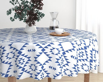 Round Tablecloth   Navajo Texture   Navy Blue By Kimsa   Tribal Luxe Modern  Cotton Sateen