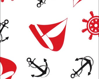 Oilcloth By The Yard - Nautical in Red and Black