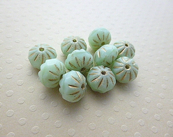 Set of 10 beads crullers Mint 9 x 6 mm - CBCC18 0916