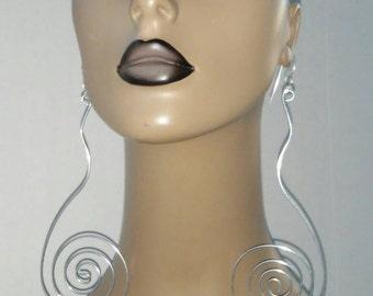 Uniquely Shaped Wire Earrings, Large Earrings, Long Earrings, Fashion Earrings, Dangling Earrings, Womens Jewelry, Wire Wrapped Earrings,