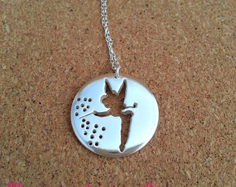Fairy Necklace Fairy Jewelry Gift for Her Fairy Silver Necklace Tinkerbell Pendant Sterling Silver Fairy Fantasy jewelry