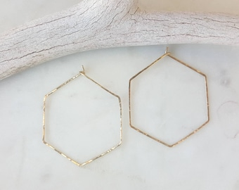 Gold filled hexagon hoop earrings / handmade / gift / hoops / textured hoops/ unique / dainty / everyday wear