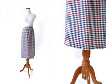 Plaid Skirt / Womens Skirts / Vintage Clothing / Holidays / Large, womens Plus, wool skirt, pencil skirt, vintage skirt