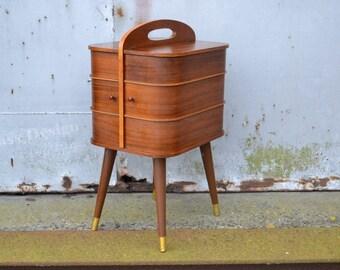 50's / 60's Mid Century modern small Sewing cabinet - box - storage  danish vintage