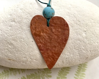 Beaten copper heart pendant, re purposed copper pipe, up cycled necklace, turquoise long necklace, handmade love heart jewellery, bead heart