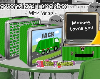 Garbage Truck Lunchbox - Personalized Metal Lunch Box with Chalkboard inside - Double-sided Tin Lunch Box - Name lunch box - Wrap or NO wrap