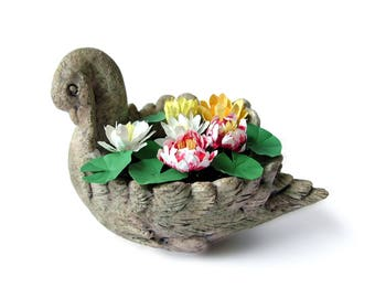 Miniature garden swan with waterlilies for the 12th scale dollhouse