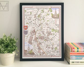 Shoreditch & Spitalfields (London E1/EC3) illustrated map giclee print