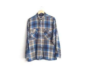 10 DOLLAR SALE // Size L/XL // Plaid Flannel // Navy Blue & Tan - Long Sleeve Button-Up Shirt - Vintage '90s.